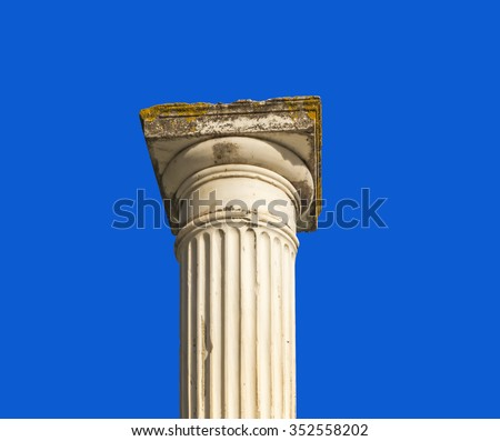 ancient greek marble  column - from Butrinti theater, Albania - stock photo