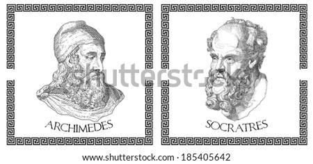 Ancient greek scientists, philosophers - stock photo