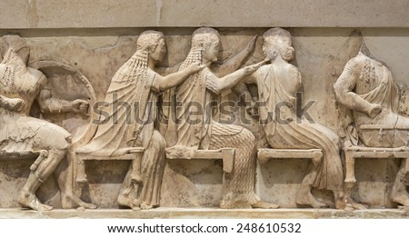 Ancient Greek Temple Frieze detail, Delhpi, Greece - stock photo