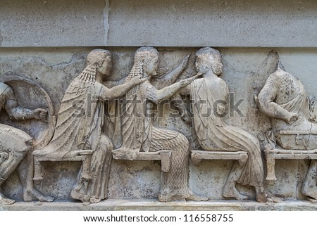 Ancient Greek Temple Frieze from Delphi in Greece