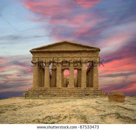 Ancient Greek temple of Concordia (V-VI century BC), Valley of the Temples, Agrigento, Sicily. The area was included in the UNESCO Heritage Site list in 1997 - stock photo