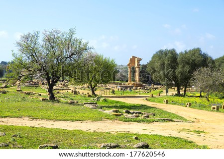 Ancient Greek Temple of the Dioscuri (V-VI century BC), Valley of the Temples, Agrigento, Sicily.  - stock photo