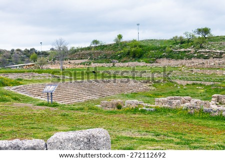 ancient greek theater in Morgantina ruins, Sicily, Italy - stock photo