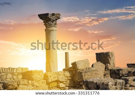 ancient greek town scene cyprus limassol - stock photo