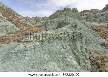 Ancient green clay patterns at the Sheep Rock Unit, John Day Fossil Beds National Monument, Oregon - stock photo