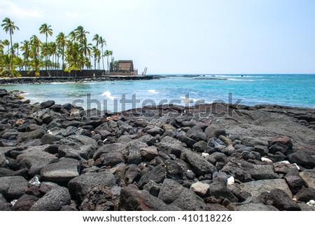 Ancient Hawaiian village, Pu'uhonua O Honaunau National Historical Park - stock photo