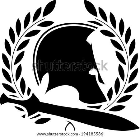 ancient helmet with sword and laurel wreath 1 - stock photo