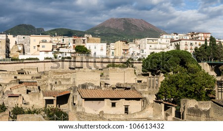 Ancient Herculaneum ruins Naples, Italy - stock photo