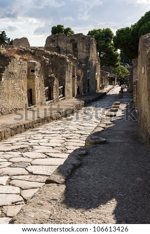 Ancient Herculaneum Street ruins Naples, Italy - stock photo
