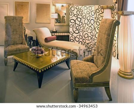 ancient hotel interior - stock photo