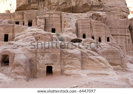 Ancient houses at Petra Jordan - stock photo
