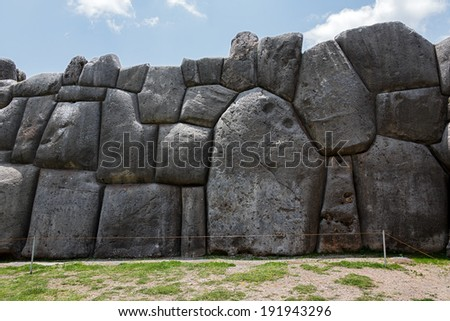 Ancient Inca fortress Saksaywaman near Cusco in Sacred Valley, Peru. (since 1983 was added as part of the city of Cusco to the UNESCO World Heritage List) - stock photo