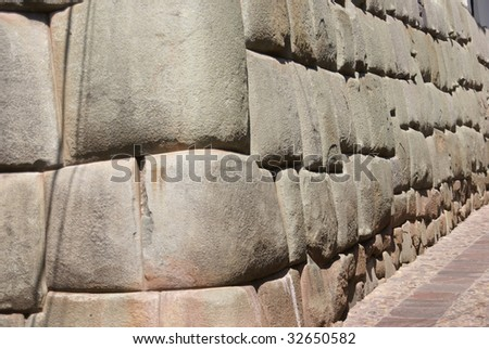 Ancient Inca walls as foundations of modern Cusco,   Peru, South America