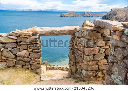 Ancient Incan ruins on Isla del Sol on the Bolivian side of Lake Titicaca - stock photo