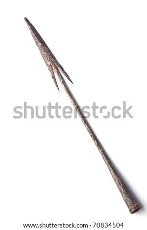 ancient iron spear on white background - stock photo