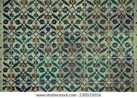 Ancient Iznik Tiles with floral Pattern - Topkapi Palace, Sultanahmet District, Istanbul, Turkey, Europe - stock photo