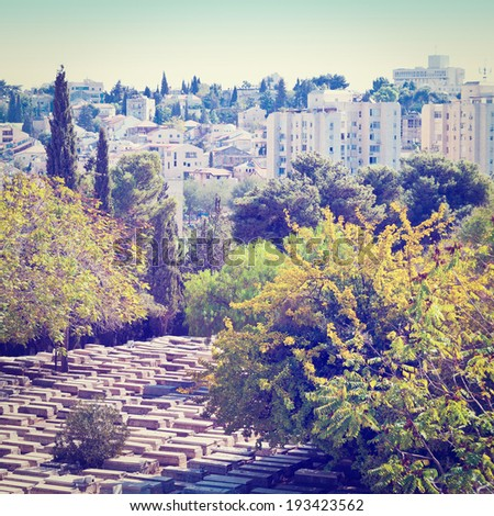 Ancient Jewish Cemetery in Jerusalem, Instagram Effect - stock photo