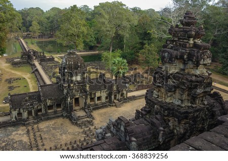 Ancient Khmer architecture. Panorama view of Baphuon temple at Angkor Wat complex, Siem Reap, Cambodia - stock photo
