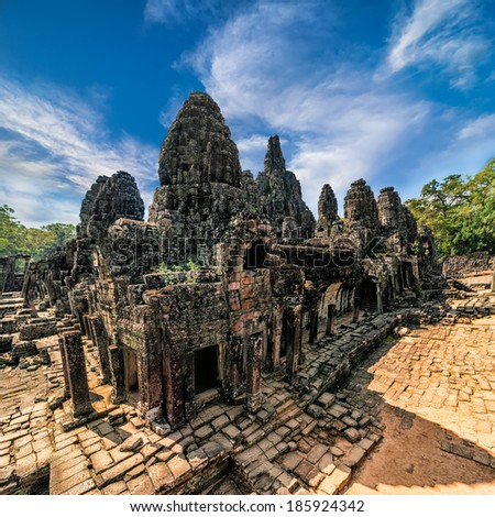 Ancient Khmer architecture. Panorama view of Bayon temple at Angkor Wat complex, Siem Reap, Cambodia - stock photo