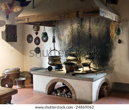 Ancient kitchen (Kyburg castle, Switzerland) - stock photo
