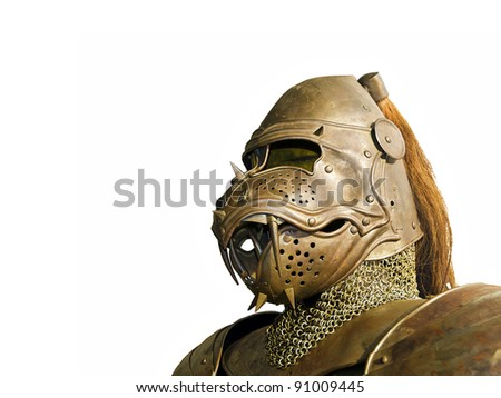 Ancient knight metal armor - stock photo
