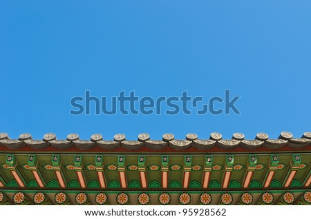 ancient korean style roof decorative ornament - stock photo