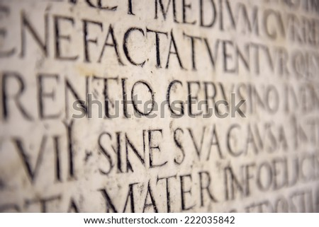 Ancient Latin Inscription  - stock photo