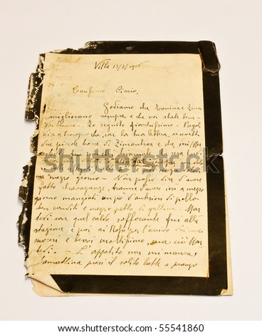 Ancient letter - stock photo