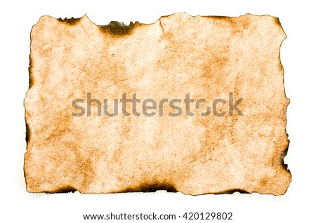 Ancient letter burned. Old paper - stock photo