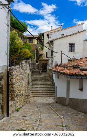 Ancient little street and stairs in Morella, the province of Castellon, Spain. - stock photo