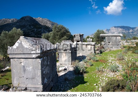 Ancient Lycian tomb in the village Sdima, Turkey