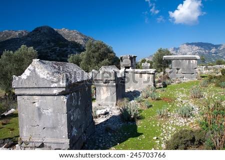 Ancient Lycian tomb in the village Sdima, Turkey - stock photo
