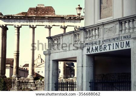 ancient Mamertine Prison in Rome, Italy  - stock photo