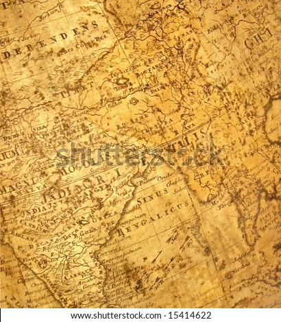 ancient map  (india in the middle) - stock photo