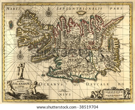 Ancient map of Iceland (17 centuries) - stock photo