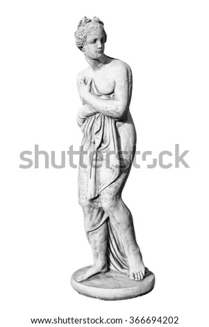 Ancient marble statue of sculpture woman isolated on white. - stock photo