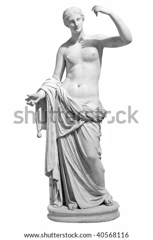 Ancient marble statue of Venus isolated on white - stock photo