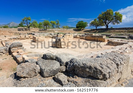 Ancient marketplace in Alcudia city - stock photo