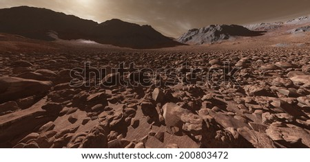 Ancient Martian glacial valley with bouldered moraine - stock photo