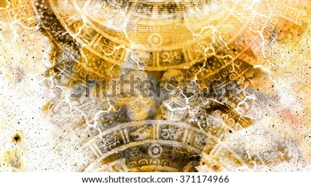 Ancient Mayan Calendar and  Cosmic space with stars - stock photo