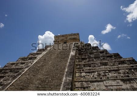 Ancient Mayan pyramid, Kukulcan Temple at Chichen Itza, Yucatan, Mexico - stock photo