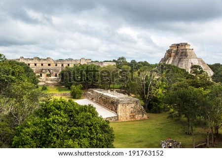 Ancient mayan pyramid. Uxmal, Merida, Yucatan, Mexico - stock photo