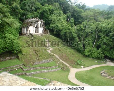 Ancient Mayan ruins at Palenque, Mexico - stock photo