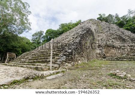 Ancient mayan ruins in coba,mexico - stock photo