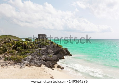 Ancient Mayan ruins of Tulum in Caribbean sea, Mexico - stock photo