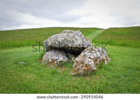 Ancient megalithic tomb dolmen, Carrowkeel, Ireland - stock photo