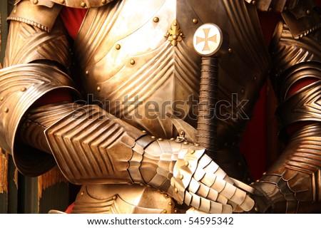 Ancient metal armor - iron detail. - stock photo