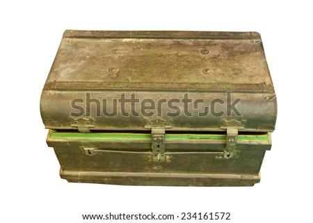 ancient metal box ,treasure Chest - stock photo