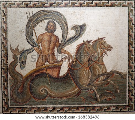 Ancient mid 3rd century Roman mosaic depicting Neptune being drawn in his chariot by two hippocamps while holding a trident in his right hand. - stock photo