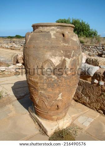 Ancient Minoan amphora in Malia, Crete - stock photo